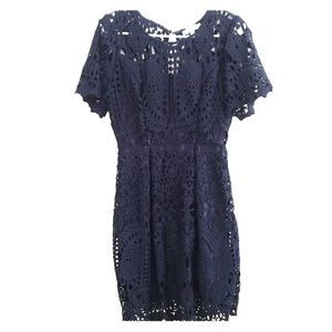 Anthropology Navy Blue Lace Dress